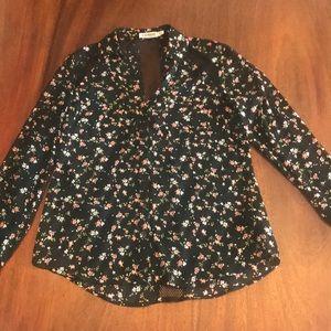 Express black floral print portofino shirt